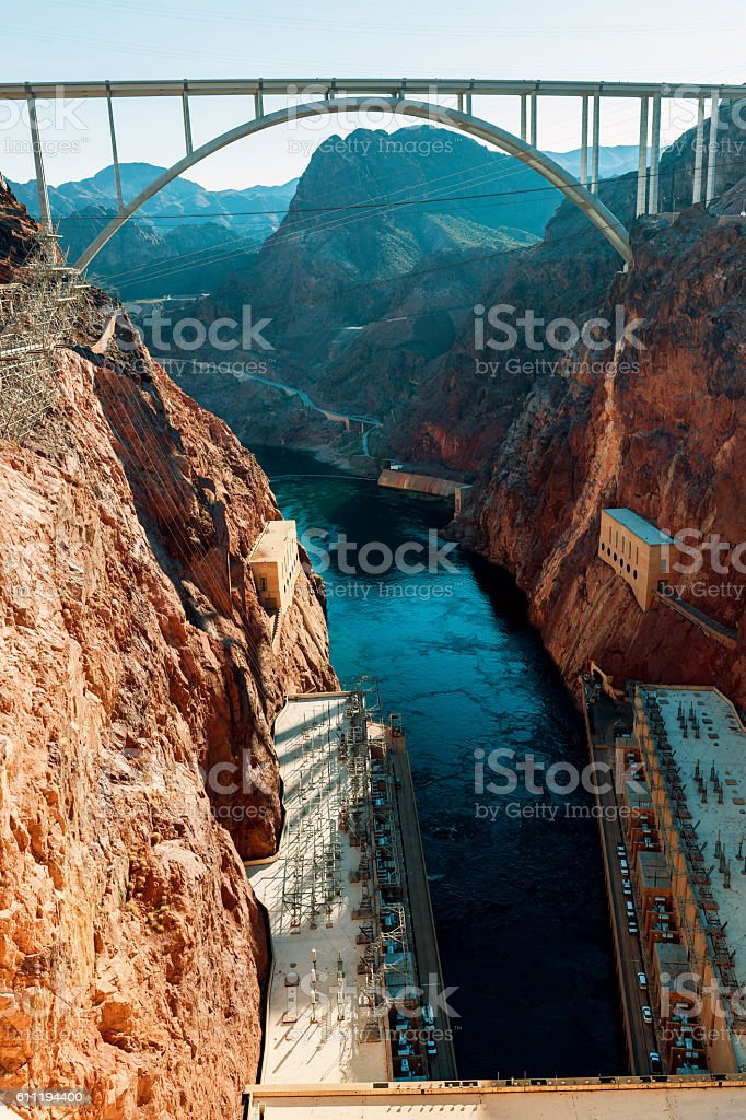 Glen Bridge Canyon Dam Colorado River, Hoover Dam. Nevada USA stock photo
