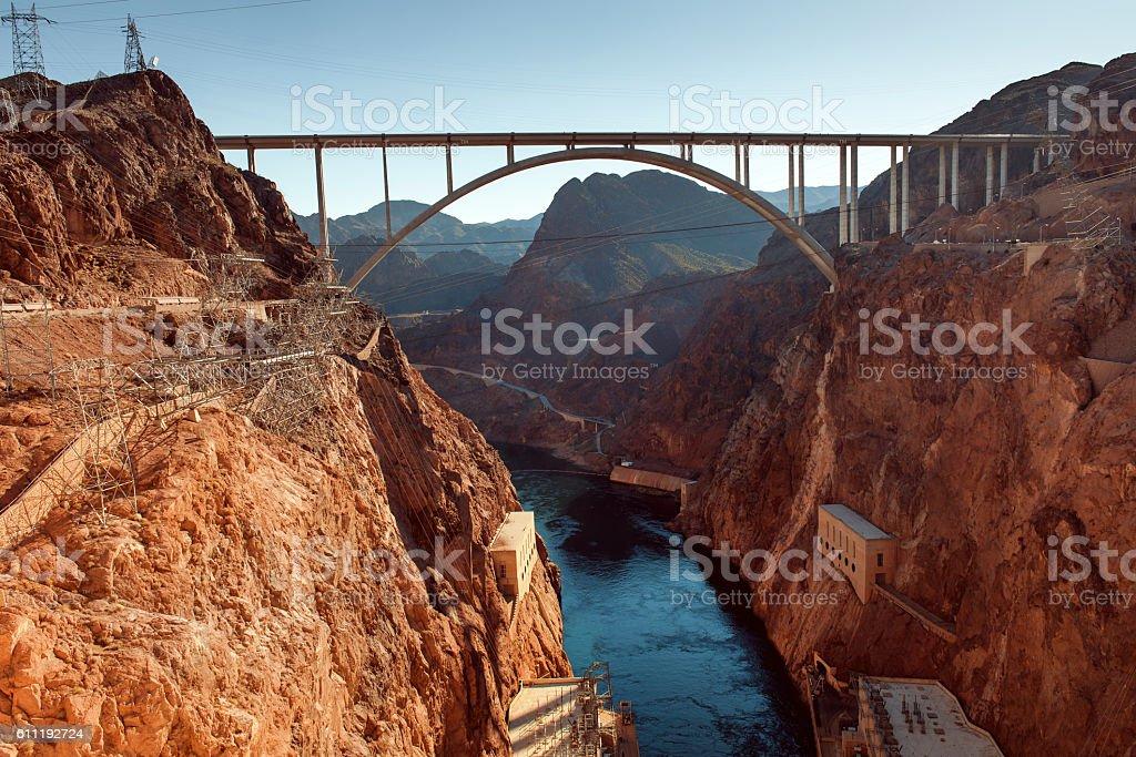 Glen Bridge Canyon Dam Colorado River Powell Lake USA stock photo