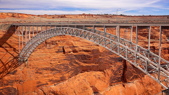 Arch bridge spanning the Glen Canyon Dam in Page, Arizona