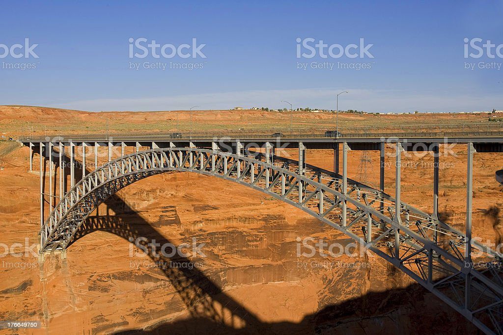 Presa de Glen Canyon en el lago Powell, Arizona & página foto de stock libre de derechos