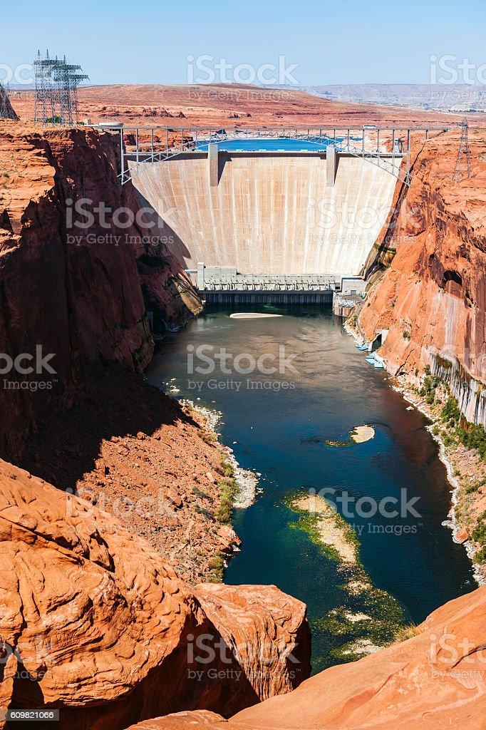Glen Canyon Dam bridge construction,Colorado River Powell Lake USA stock photo