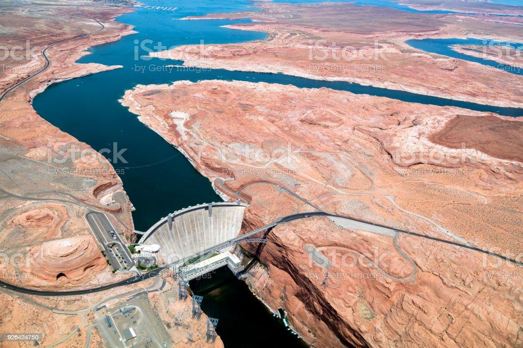 Glen Canyon Dam, Colorado River, Aerial View, Arizona, USA Glen Canyon Dam, Glen Canyon Dam Bridge, Colorado River, Highway 89,  aerial view, Page, Arizona, USA Aerial View Stock Photo