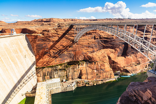 Glen Canyon Dam on the border between Arizona and Utah.
