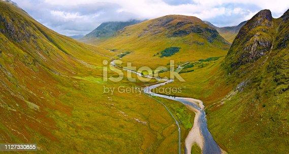 Aerial view of Glen Etive, a small valley in the Scottish Highlands near Glencoe, Scotland, United Kingdom