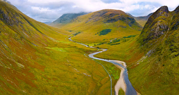 Glen Etive, Scottish Highlands Aerial view of Glen Etive, a small valley in the Scottish Highlands near Glencoe, Scotland, United Kingdom valley stock pictures, royalty-free photos & images