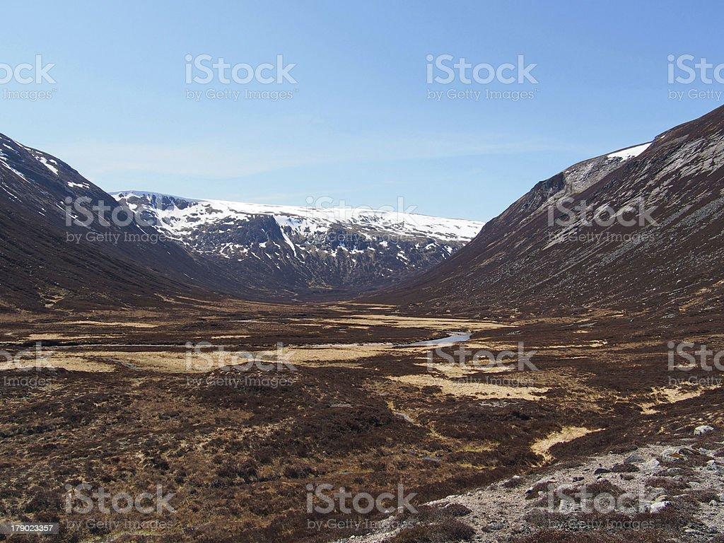 Glen Geusachan, Cairngorms mountain, Scotland in spring royalty-free stock photo