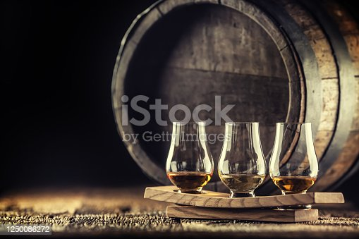 istock Glencairn whiskey tasting cups on a wooden serving, with a whisky barrel in the dark background 1250086272