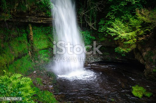 """Glencar Waterfall, also known as """"The Devil's Chimney"""", flows into Glencar Lake in County Leitrim, Ireland.  It is situated in a beautiful woodland with easy public access. It was even cited by WB Yeats in his poem 'The Stolen Child'."""