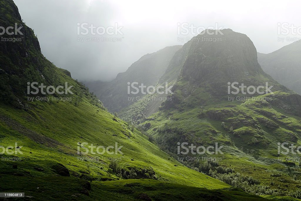 Glencoe pass on a misty day stock photo