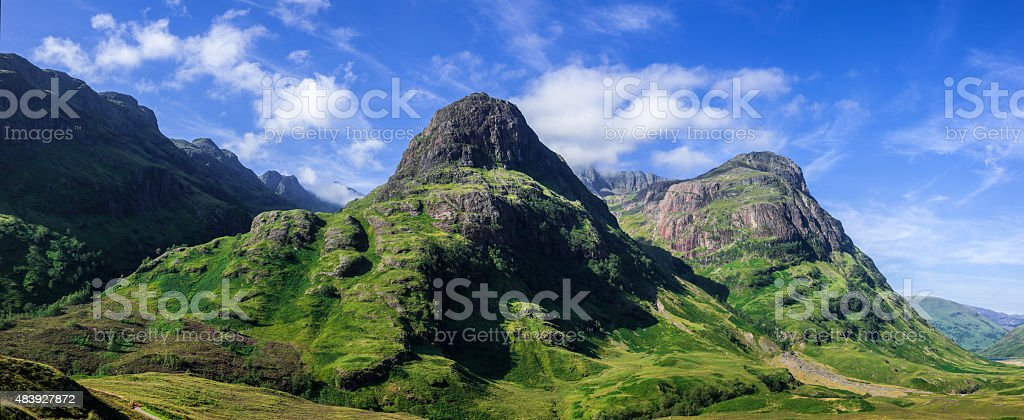 Glencoe Pass on an early summers morning panorama stock photo