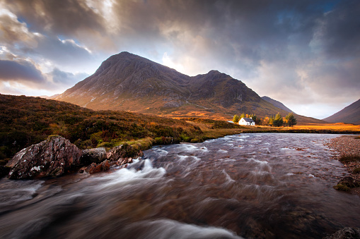 Autumn sunrise in the Glencoe valley, Scottish highlands