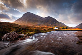 Autumn sunrise in the Glencoe valley, Scottish highlands
