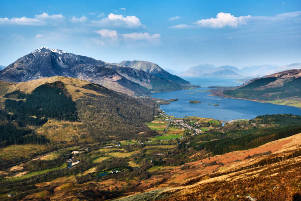 Glencoe village and Loch Leven, Glencoe, Scotland stock photo
