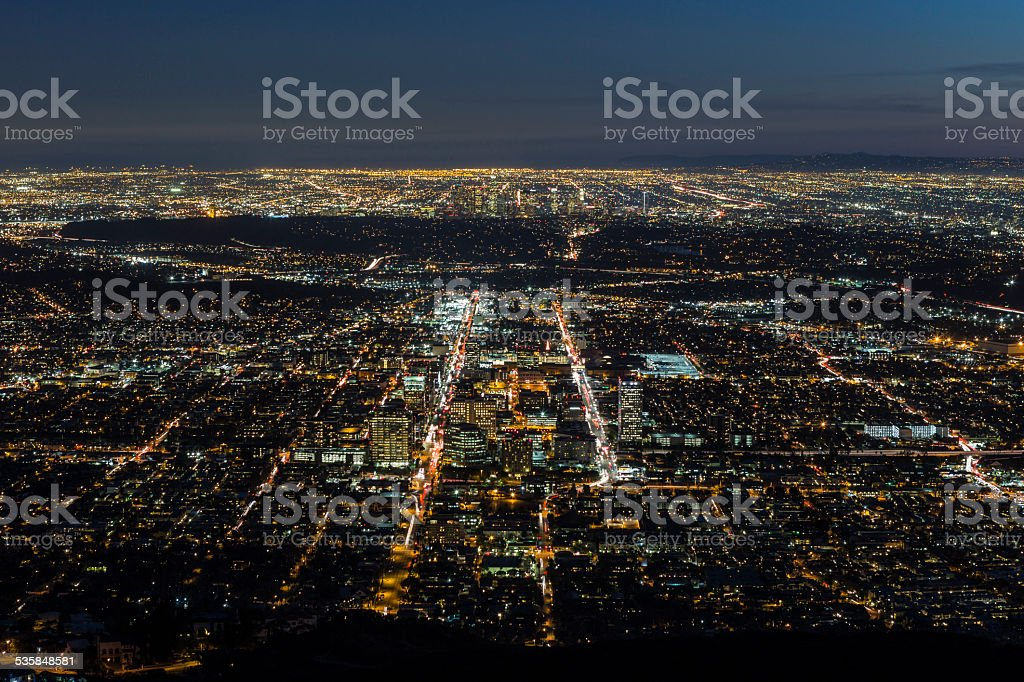 Glendale and Los Angeles Night Aerial stock photo