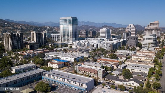 Aerial view of downtown Glendale, California.
