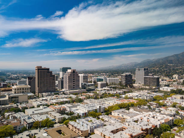 glendale, california skyline aerial - san fernando valley stock photos and pictures