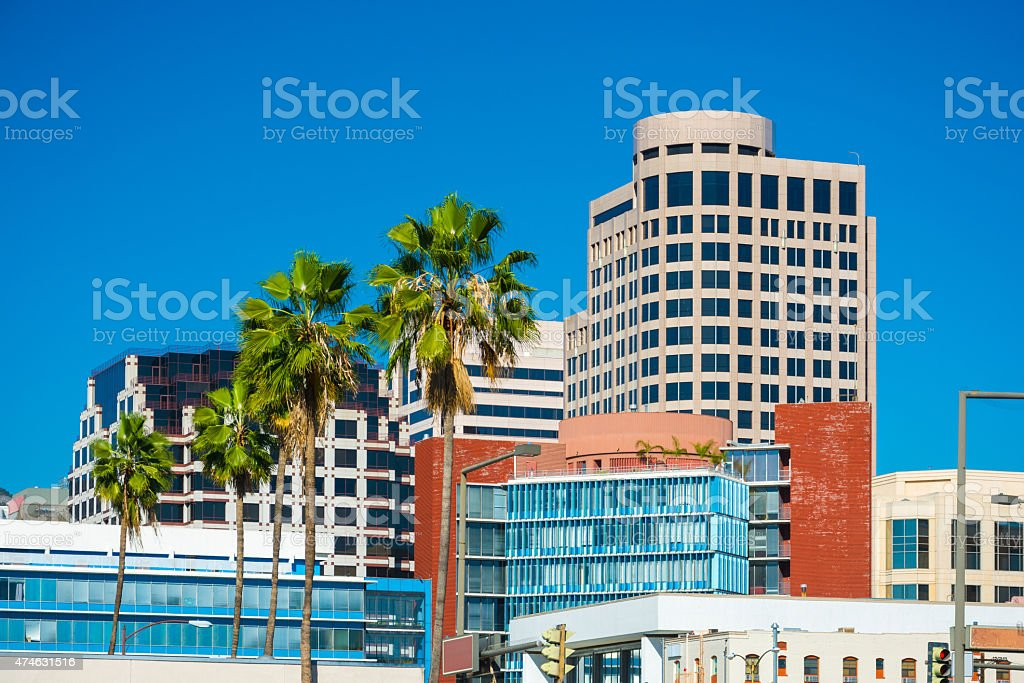 Glendale downtown buildings and palm trees stock photo