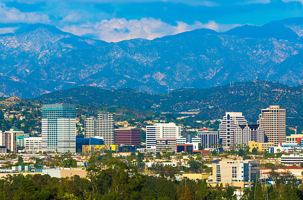 glendale skyline with mountains - san fernando valley stock photos and pictures