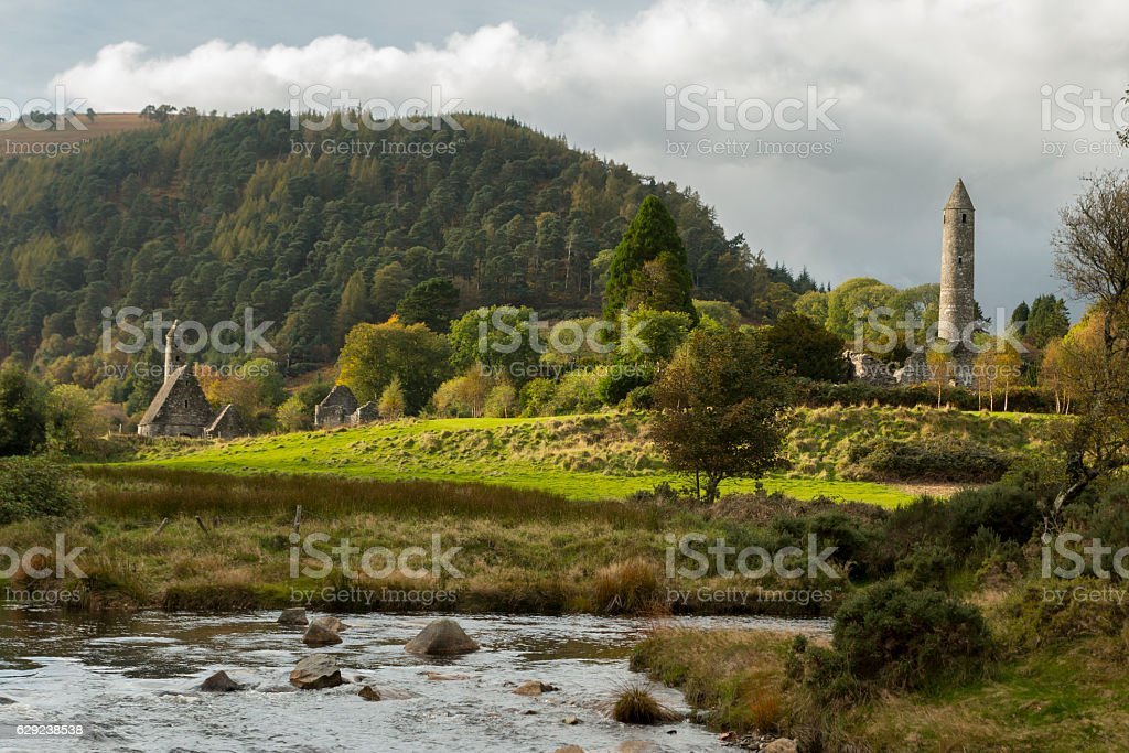 Glendalough Monastic Site in Wicklow Mountains National Park. stock photo