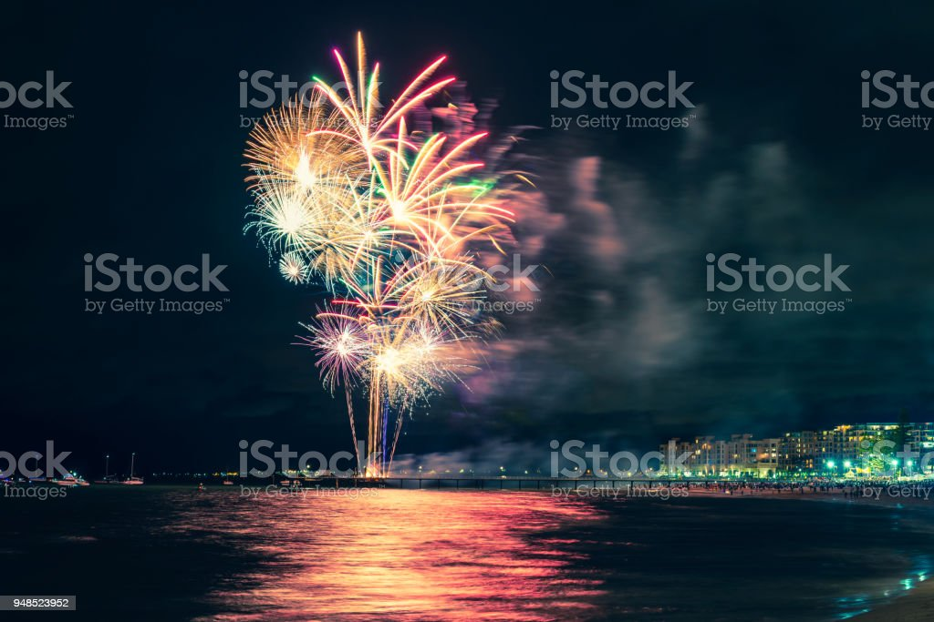 Glenelg beach New Year fireworks stock photo