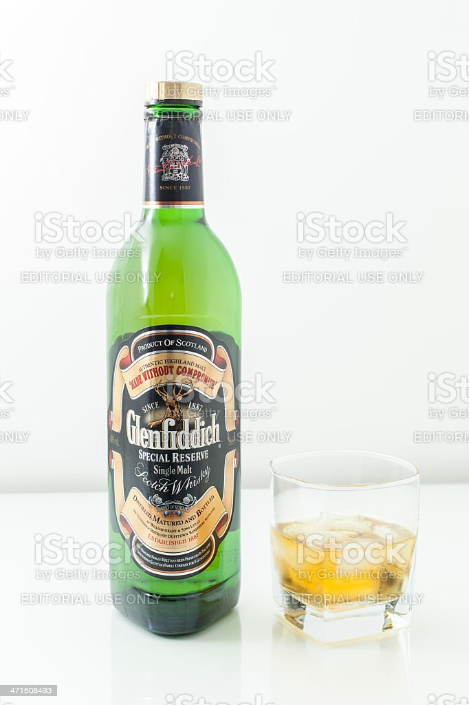 Glenfiddich Single Malt Scotch Whisky Bottle And Glass of Whisky. royalty-free stock photo