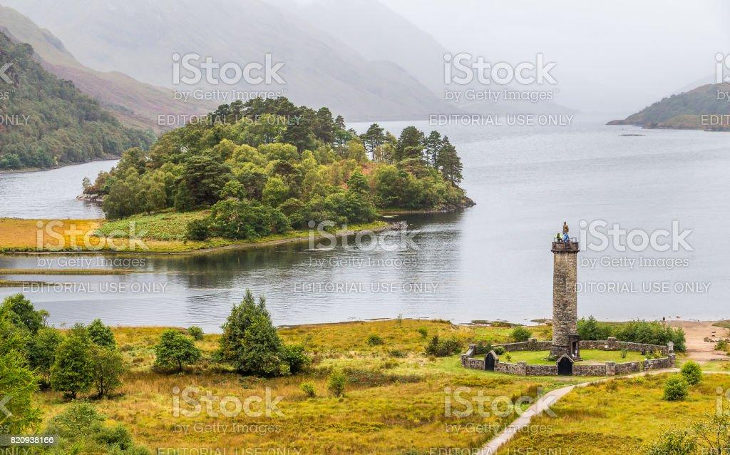 Glenfinnan momument at Loch Shiel, Scotland stock photo