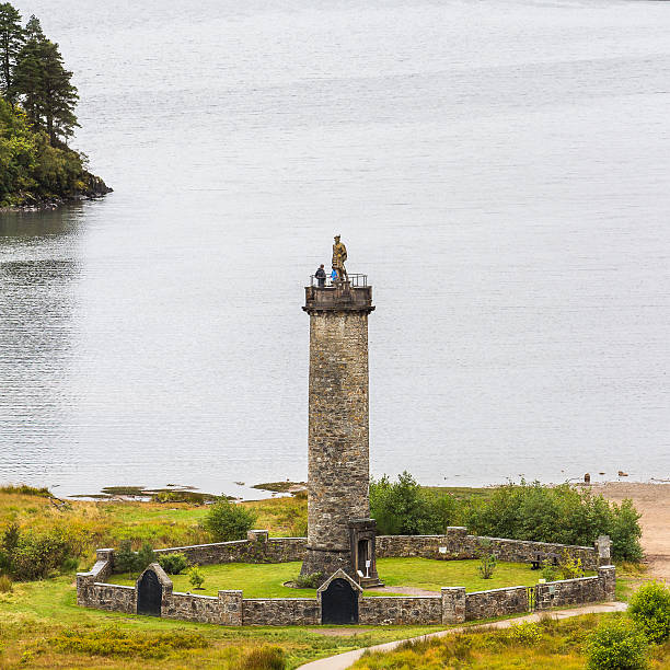 Glenfinnan momument close-up Glenfinnan, Highlands, Scotland - September 23, 2014: Bonnie Prince Charlie monument at Loch Shiel near Fort William. The turistic monolith is where the Stuart pretender started the Jacobite uprising. culloden stock pictures, royalty-free photos & images