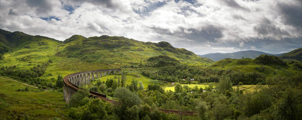 Glenfinnan Viaduct panorama A panorama of the Scottish Highlands and the Glenfinnan Viaduct on the West Highland Line in Glenfinnan, Lochaber. Scotland, UK. scottish highlands stock pictures, royalty-free photos & images