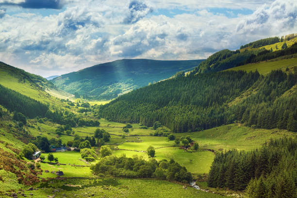 glenmacnass valley, county wicklow, ireland - horizontal stock pictures, royalty-free photos & images