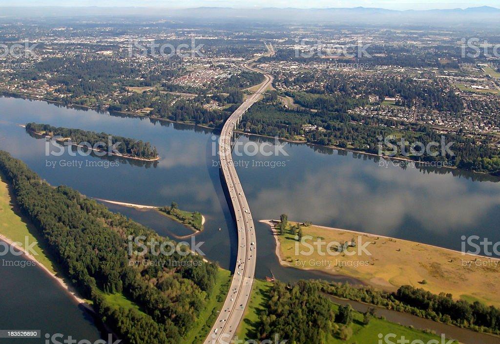 I-205 Glenn Jackson Bridge War Vetrans Memorial Freeway  Oregon Washington royalty-free stock photo