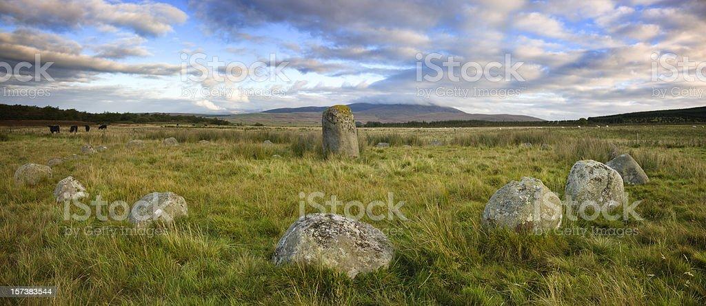 Glenquicken Stone Circle Panorama stock photo