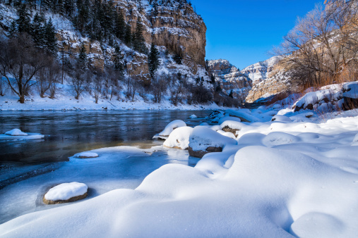 Glenwood Canyon Scenic Area In Winter Stock Photo - Download Image Now