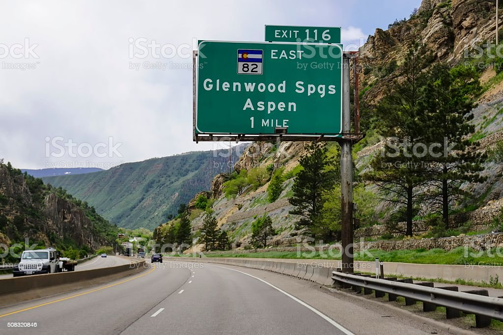 Glenwood Springs and Aspen Colorado Exit Sign stock photo