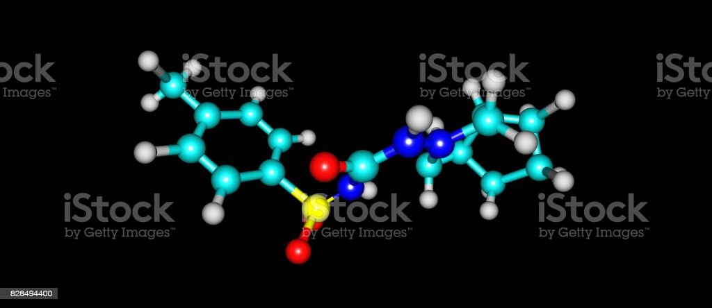 Gliclazide molecular structure isolated on white stock photo