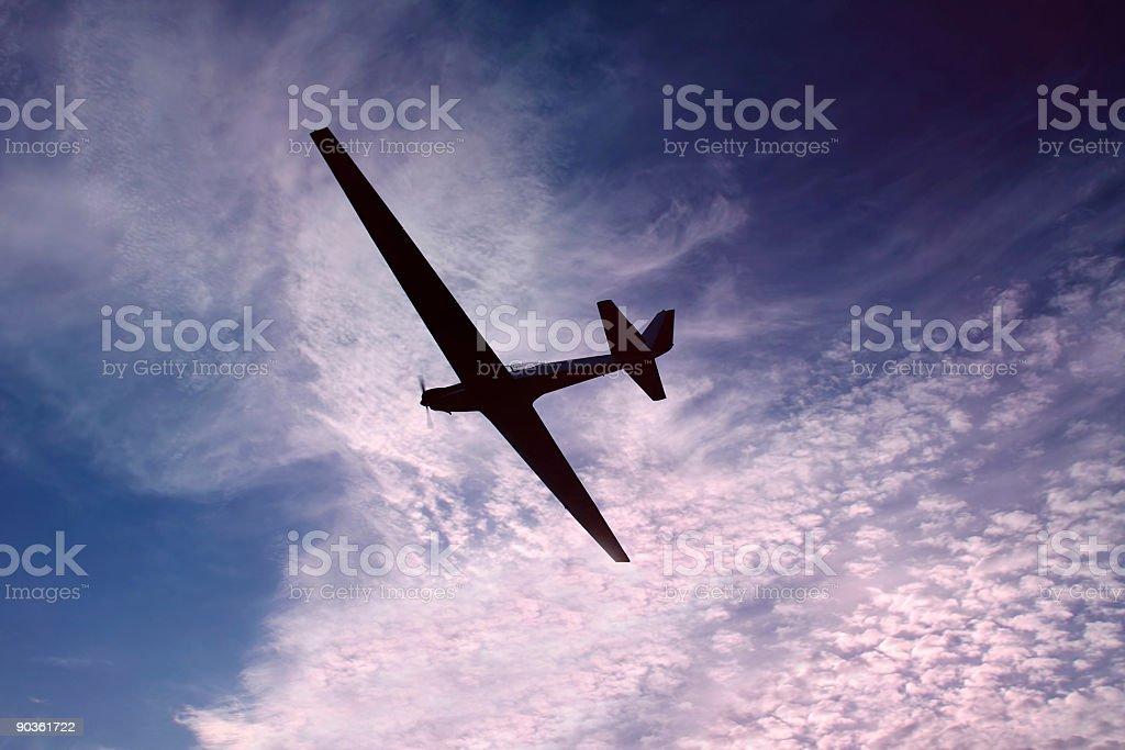 Glider against a beautiful colored sky royalty-free stock photo