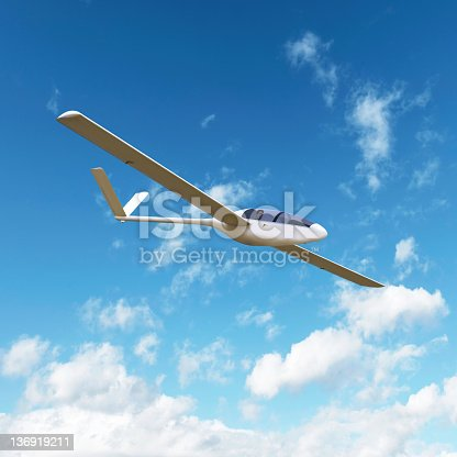 glider soaring with bright sky, square frame (XL)