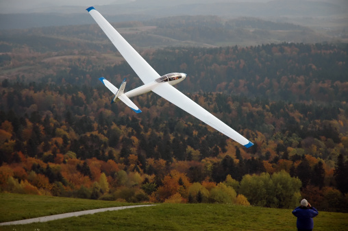 Glider being catapulted.