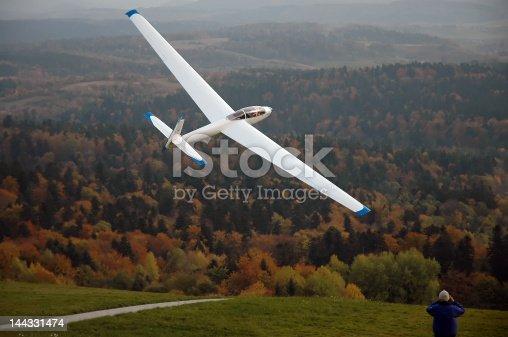 Glider 'SZD-35 Bekas' being catapulted. Bezmiechowa, Poland.