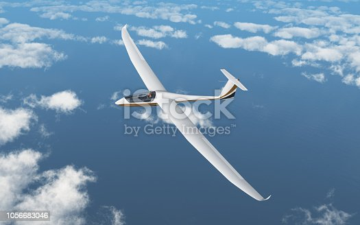 Computer generated 3D illustration with a glider over the clouds