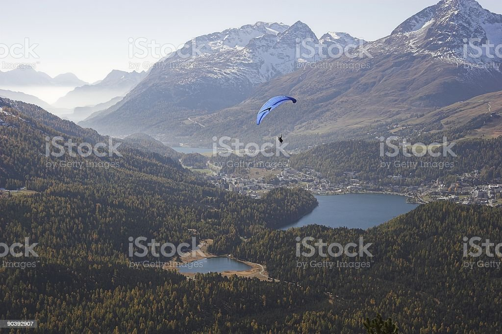 Glider overhead St. Moritz stock photo
