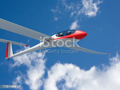 Close view of a red and white glider against a sky. Very high resolution 3D render.