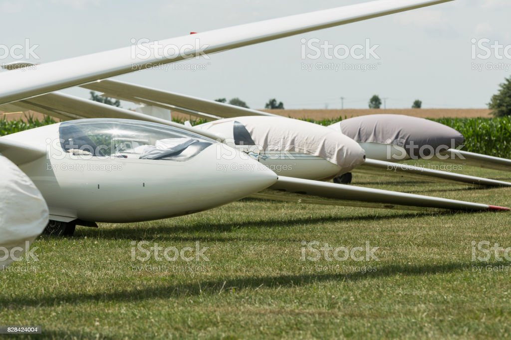 gliders at green airfield with blue sky stock photo