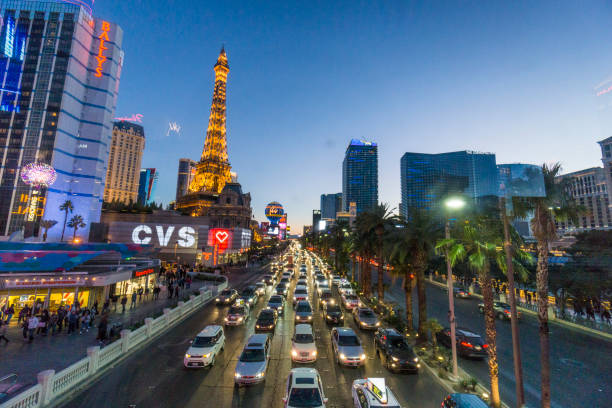 A glimpse at some of Las Vegas famous hotels. stock photo