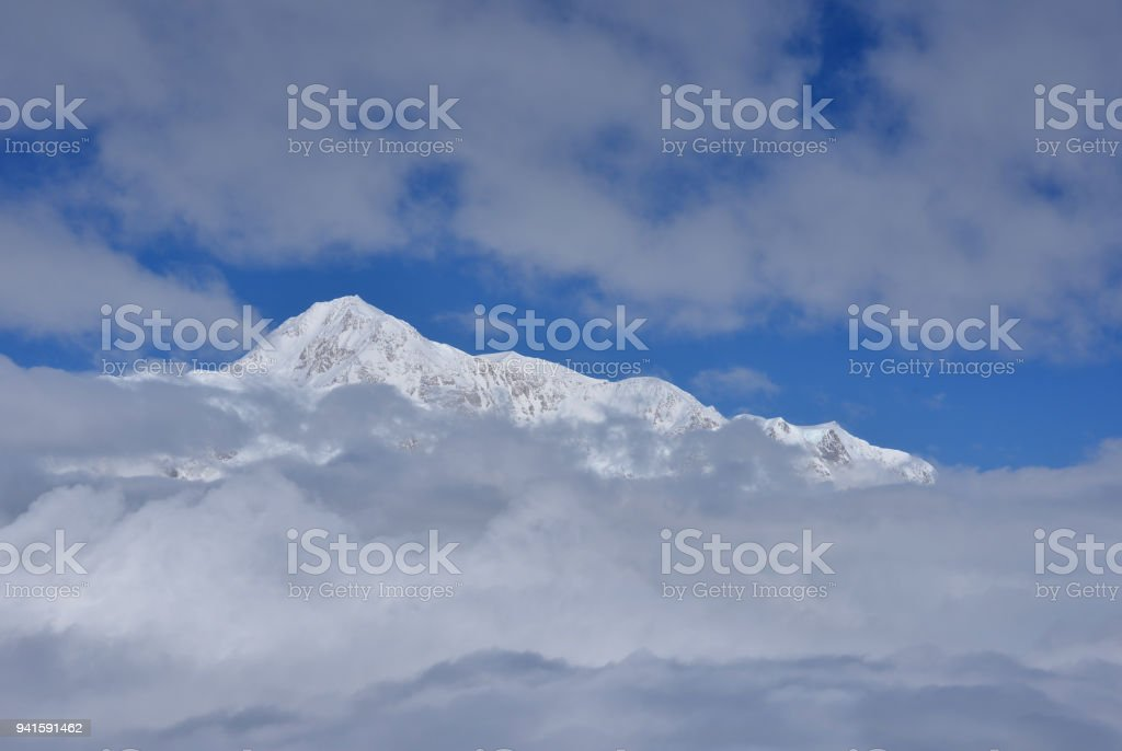 Glimpse of Denali, Alaska, USA stock photo