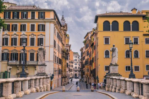 A glimpse of Ponte Sant'Angelo and Via Banco di Santo Spirito in the heart of Rome stock photo