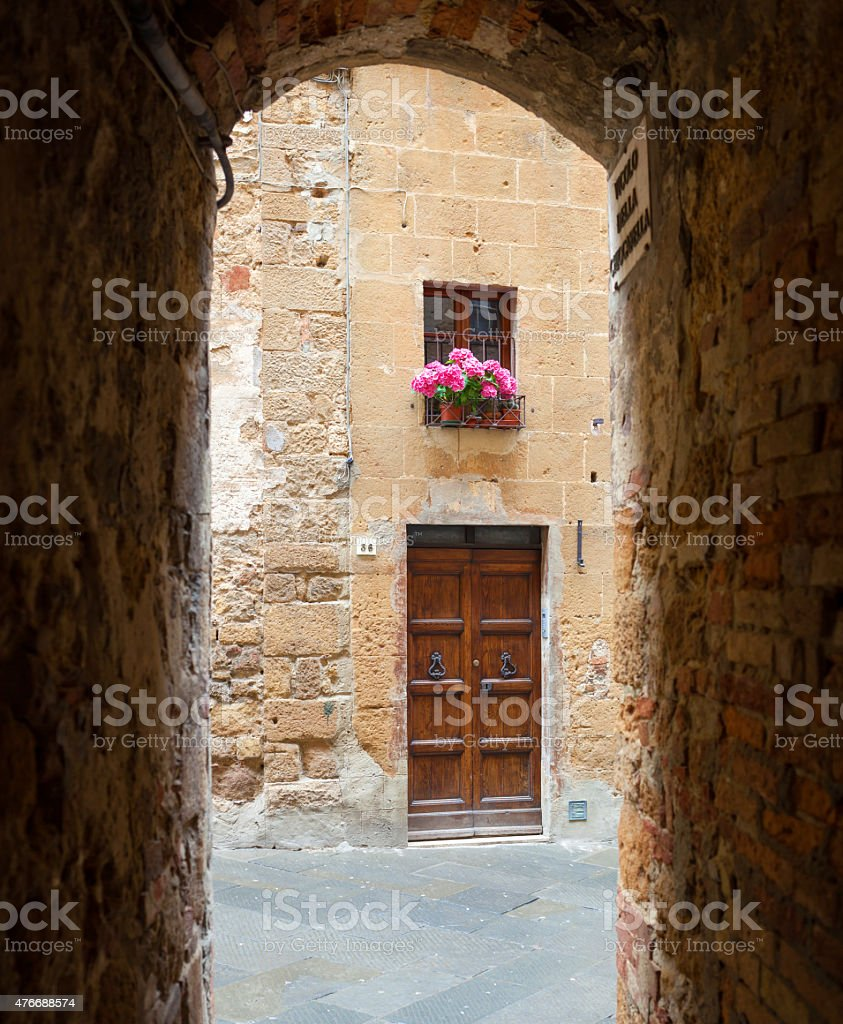 Glimpse of the town of Pienza in Tuscany stock photo
