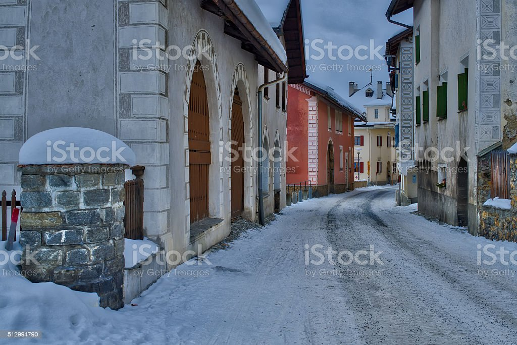Glimpse of the village of S-chanf in the Engadine stock photo