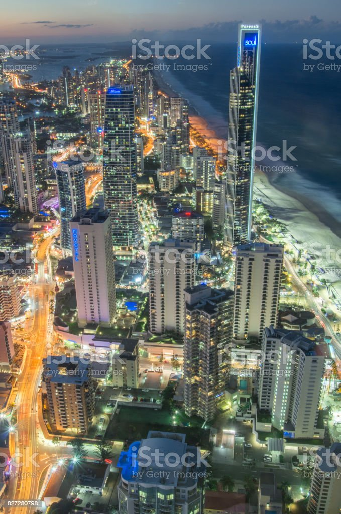 Glistening city lights of the Gold Coast at Surfers Paradise. stock photo