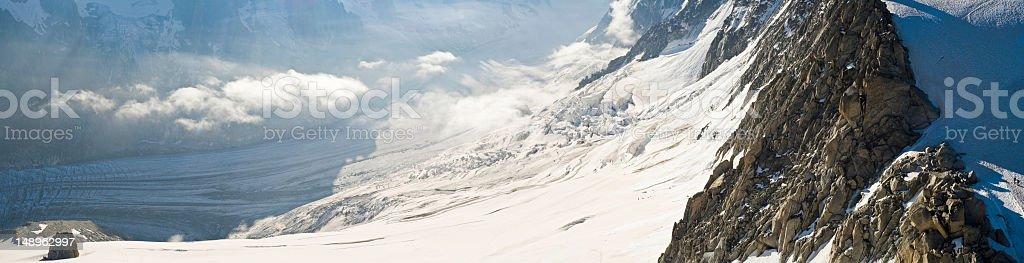 Glistening glacier icefall valley royalty-free stock photo