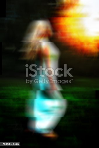 624717328istockphoto Glitch art abstract portrait of barefoot woman running 508060646